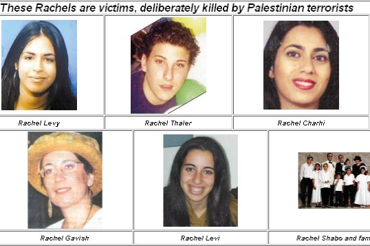 Real innocent victims of terror called Rachel